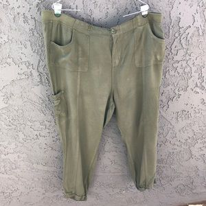 Pants - Rayon cargo joggers army green plus size 1X